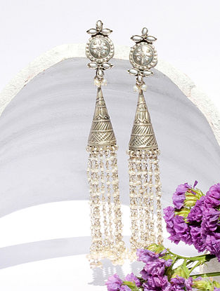 White Kundan Silver Jhumki Earrings With Pearls