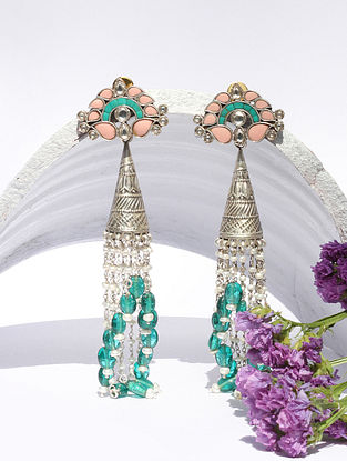 Green Peach Kundan Silver Jhumki Earrings With Chalcedony Turquoise And Pearls