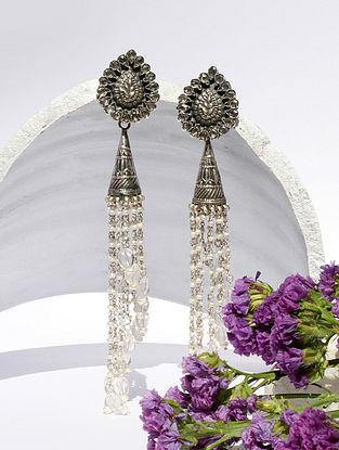 White Kundan Silver Jhumki Earrings With CZ
