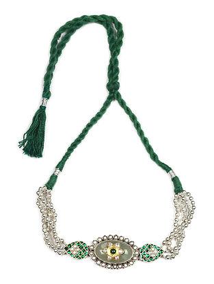 Green Kundan Silver Choker With ChalcedonyAnd Pearls