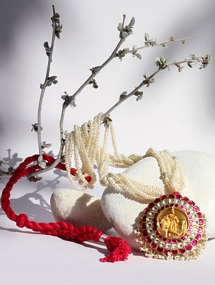 Gold Tone Pink Kundan Silver Necklace with Stone And Pearls