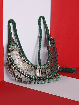 Green Tribal Silver Necklace With Emerald