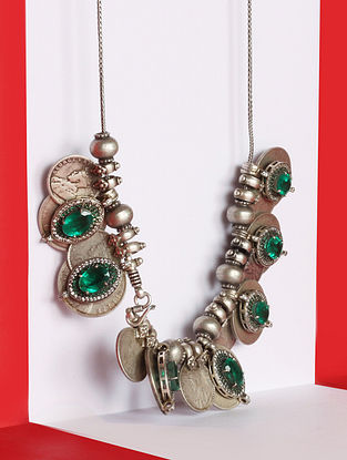 Green Silver Necklace With Emerald