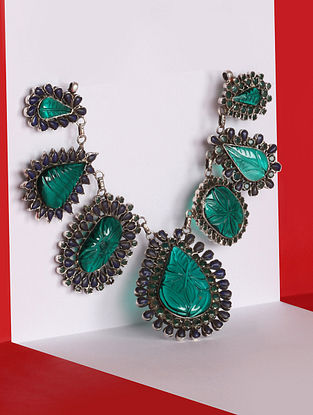 Green Blue Kundan Silver Necklace With Emerald And Stones