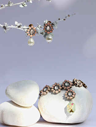 Peach Kundan Silver Necklace And Earrings With Chalcedony