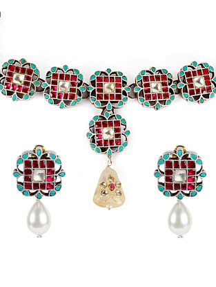 Blue Pink Kundan Silver Necklace And Earrings With Turquoise And Stones