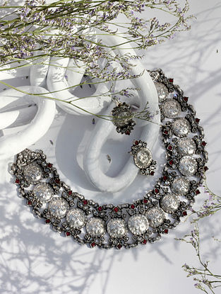 Red Silver Necklace And Earrings With CZ And Red Stone