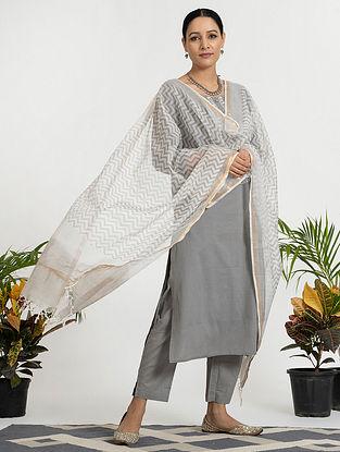 Grey Mul Cotton Kurta (with Slip) with Pants and Hand Block Printed Dupatta (Set of 4)