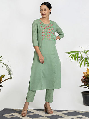 Green Hand Embroidered Mul Cotton Kurta (with Slip) with Pants (Set of 3)