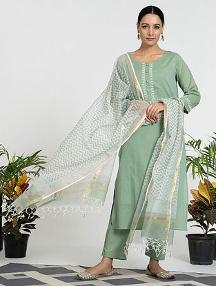 Green Mul Cotton Kurta (with Slip) with Pants and Hand Block Printed Dupatta (Set of 4)