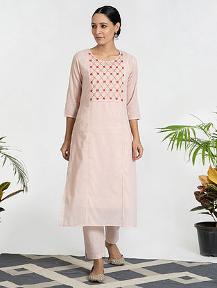 Pink Hand Embroidered Mul Cotton Kurta (with Slip) with Pants (Set of 3)