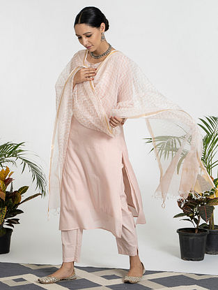 Pink Mul Cotton Kurta (with Slip) with Pants and Hand Block Printed Dupatta (Set of 4)