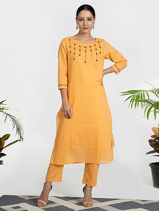 Orange Mul Cotton Kurta (with Slip) with Pants (Set of 3)
