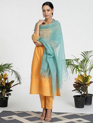 Orange Mul Cotton Kurta (with Slip) with Pants and Dupatta (Set of 4)