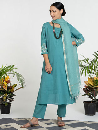 Blue Mul Cotton Kurta (with Slip) with Pants and Dupatta (Set of 4)