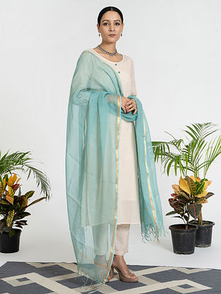 Peach Mul Cotton Kurta (with Slip) with Pants and Dupatta (Set of 4)