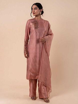 Pink Handwoven Silk Kurta and Pants with Dupatta (Set of 3)