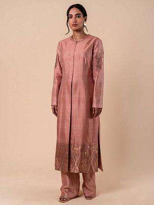 Pink Handwoven Silk Kurta with Pants (Set of 2)