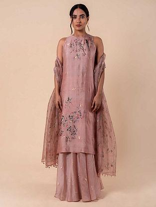 Pink Handwoven Silk Kurta and Palazzo (Set of 2)
