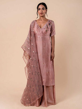 Pink Handwoven Silk Kurta and Palazzo with Dupatta (Set of 3)
