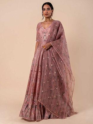 Pink Handwoven Silk Anarkali and Churidar with Dupatta (Set of 3)