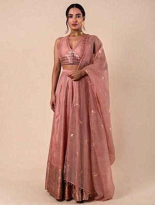 Pink Handwoven Silk Lehenga (Set of 3)