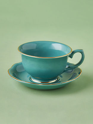 Jade Porcelain Handcrafted Tea Cup Saucer (Dia-4in ,H-2.75in)
