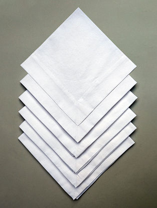 Ivory Solid Cotton Table Napkin (Set Of 6) (L- 16in ,W- 16in)