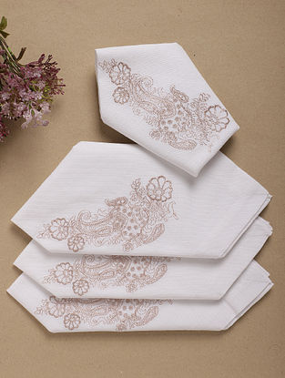 Cream Embroidered Cotton Table Napkin (Set Of 4) (L- 16in ,W- 16in)