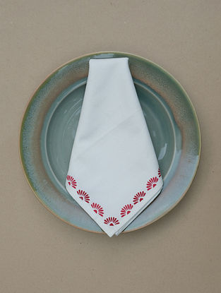 Cream Printed Cotton Table Napkin (Set Of 4) (L- 18.5in ,W- 20in)