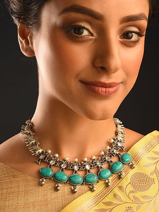 Blue Kempstone Encrusted Silver Necklace