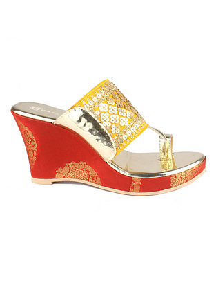 Yellow Gold Embroidered Kolhapuri Wedges