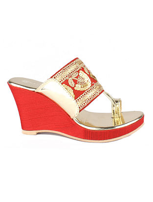 Red Gold Embroidered Kolhapuri Wedges