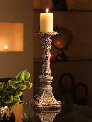 Whitewashed Handcrafted Wooden Candle Holder (Dia-4.5in,H-16in)