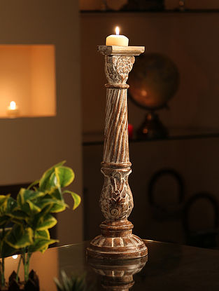 Whitewashed Handcrafted Wooden Candle Holder (Dia-4in,H-18in)