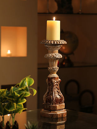 Whitewashed Handcrafted Wooden Candle Holder (Dia-5.5in,H-15in)