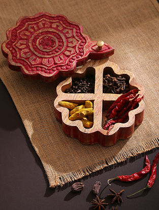 Red Handcrafted Distress Finish Circular Box (L-8.5in, W-6.5in,H-2in)