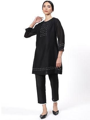 Black Handwoven Silk Cotton Kurta Dress