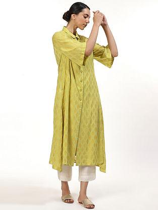 Lime Green and Yellow Chanderi Kurta Dress