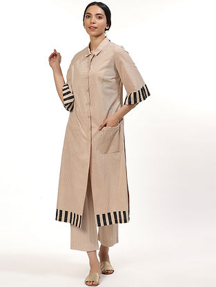 Beige and Black Hand Block Printed Cotton Kurta Dress