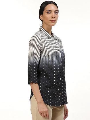 Black and White Naturally Dyed Cotton Shirt