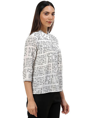 Ivory and Black Cotton Voile Top