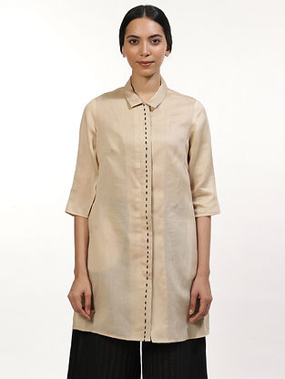 Beige and Ivory Handwoven Cotton Kurta Dress
