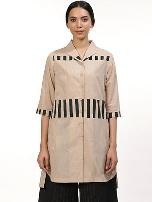 Beige and Black Hand Block Printed Cotton Tunic
