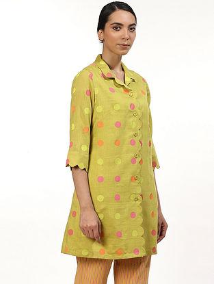 Lime Green and Yellow Hand Block Printed Chanderi Shirt Dress