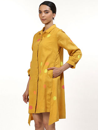 Yellow and Lime Green Hand Block Printed Chanderi Dress