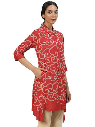 Red and Beige Cotton Shirt Dress