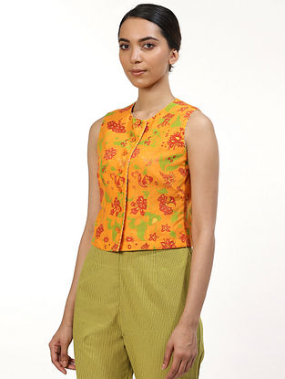Orange and Yellow Silk Voile Top