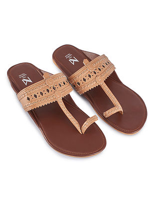 Tan Handcrafted Faux Leather Kolhapuri Flats