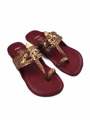 Bronze Handcrafted Faux Leather Kolhapuri Flats